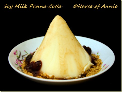Soy Milk Panna Cotta with Plum-Cranberry Reduction