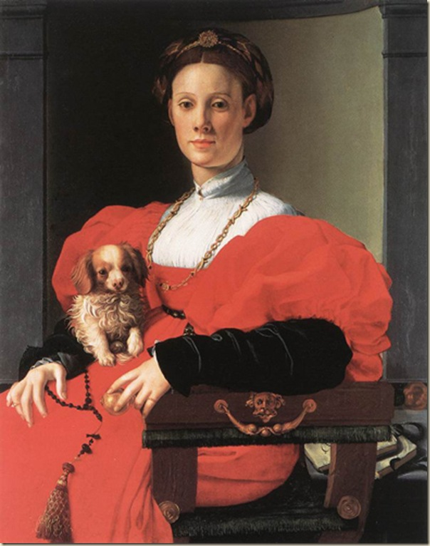 Bronzino, Portrait d'une dame avec son chien
