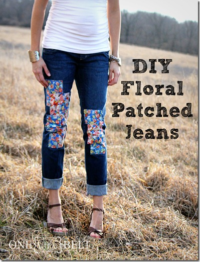 DIY Floral Patched Jeans - ONE little MOMMA