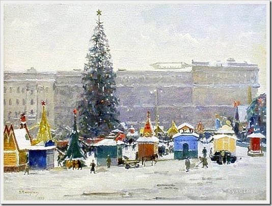 Пичугин Сергей Иванович (Россия, 1881 -1971) «Пушкинская площадь» 1947