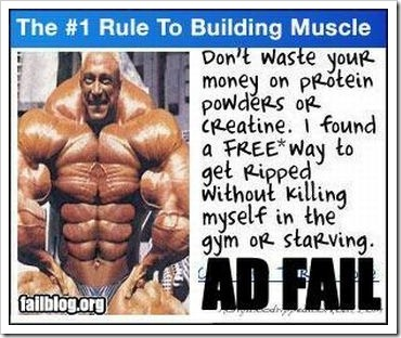 Funny fail body building ad.