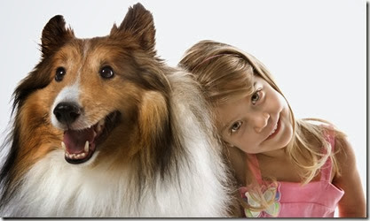 Girl child with Collie dog.