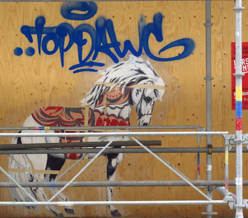 This image was painted on a city scaffold- pretty neat.  Made me think of Delia and her stunning horses!.