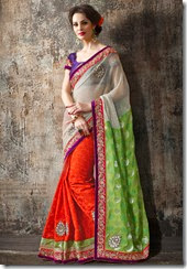 orange and green Saree - Kopanaa