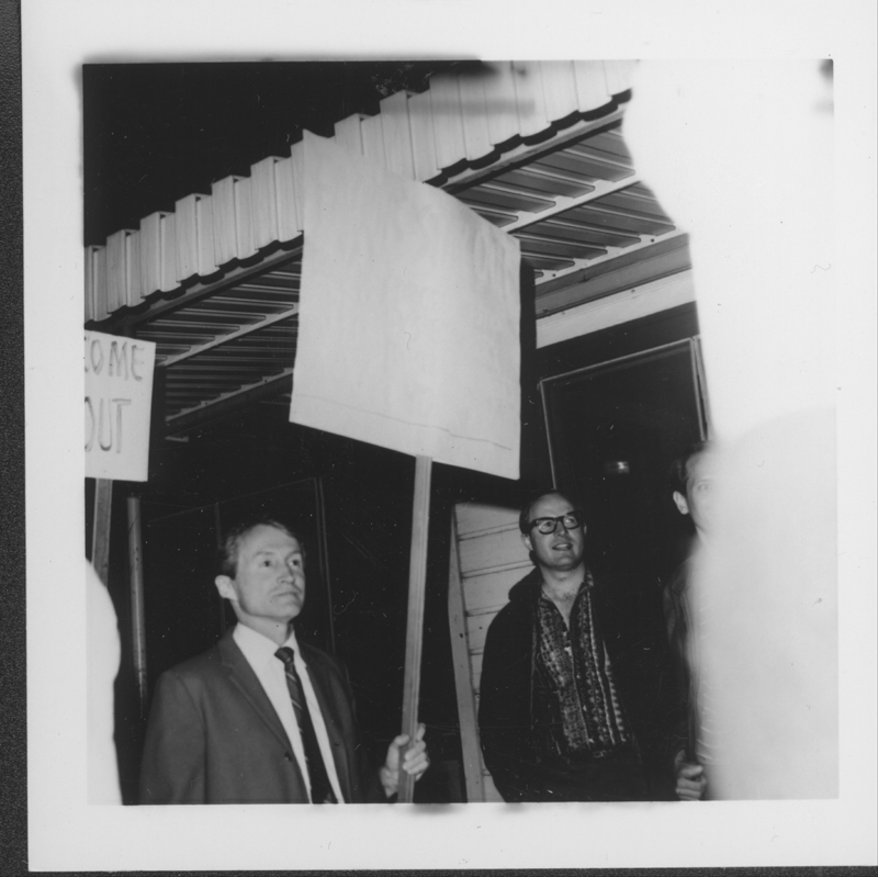 "Don Slater picketing with the Gay Liberation Front (GLF)  protest at Barney's Beanery regarding the posting of ""Fagots [sic] Stay Out"" signs. 1969."