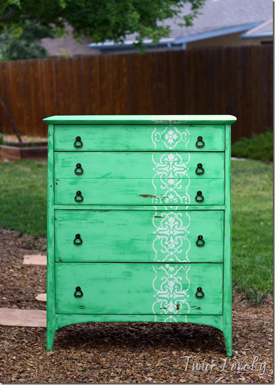 Twice lovely chippy mint green stenciled dresser for Mint green furniture paint