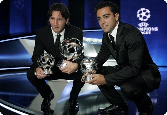 Messi e Xavi Bola de Ouro 2011