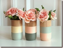 Set of 3 Painted Wooden Vases