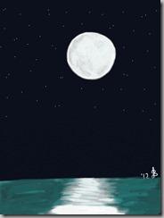 Moon over water drawn on iPad