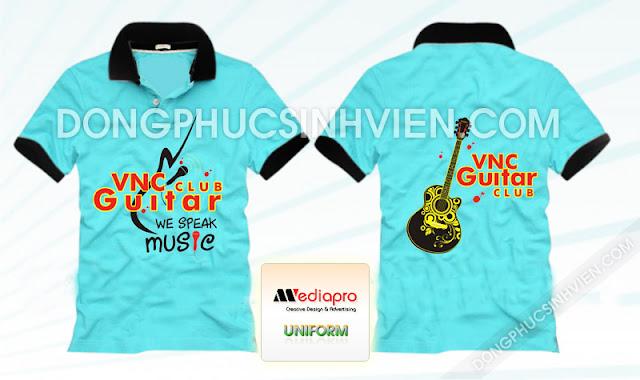 Áo lớp màu xanh cổ trụ in hình Club Guitar - Mã AL33