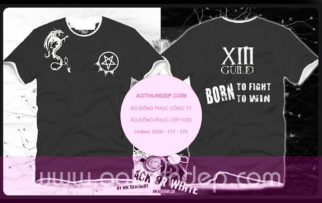 Áo lớp màu đen cổ tròn trắng ngôi sao con rồng born to fight to win - Mã AL24