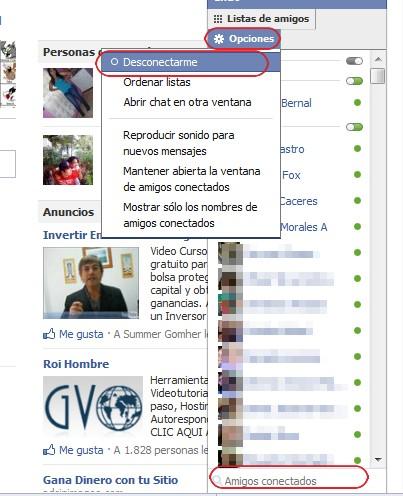 Desconectarse del chat de Facebook