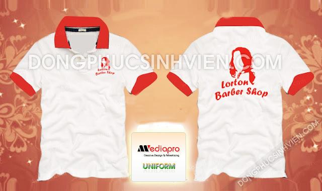 Áo đồng phục màu trắng cổ trụ in hình Lorton Barber Shop - Mã AL50