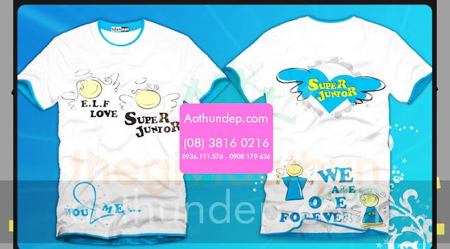 Mẫu áo màu trắng cổ tròn in hình trái tim Super Junior - Mã AL66