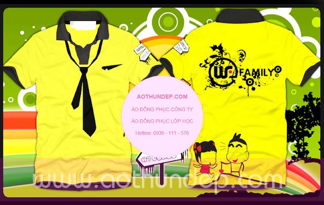 hình mẫu áo lớp đẹp màu vàng, tay lé cổ trụ màu đen