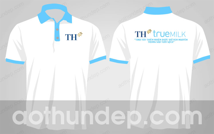 Áo thun quảng cáo  màu trắng có cổ - đồng phục TH True Milk