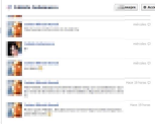 mensajes privados que nos han enviado Facebook