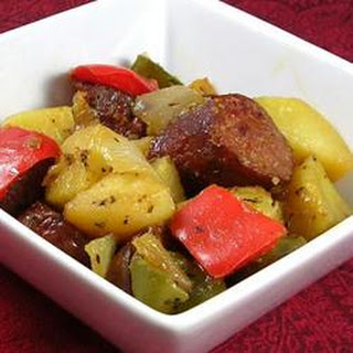 Sausage, Peppers, Onions, and Potato Bake