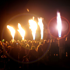 Balloon Glow by Kaye Petersen - News & Events Entertainment ( night, balloon, crowd, fire, flame,  )