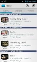 Screenshot of TeeVee Shows and Series Guide