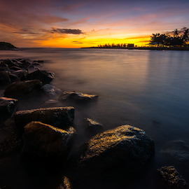 Muaro Panjalinan at Dusk by Ade Noverzan - Landscapes Beaches ( sunset, twilight, beach, stones, dusk )