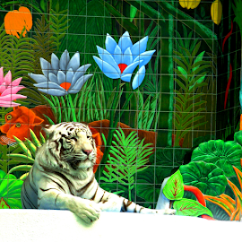 White Tiger by Jane Spencer - Animals - Cats Portraits ( wild cat, las vegas, white tiger, thian national symbol, mural )