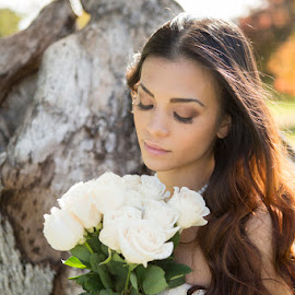 Bride with roses by Devin Donnelly - Wedding Bride ( white roses, wedding, beautiful, bride, young lady )