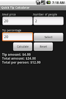 Screenshot of Quick Tip Calculator
