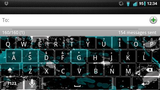 Cyan Splatter Keyboard Skin