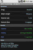 Screenshot of NICU Quick Drip Calculator