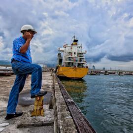 Roy by Ferdinand Ludo - People Portraits of Men ( busy, pier, engineer, docks, repair of vessel,  )