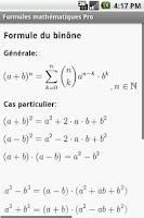 Screenshot of Formules mathématiques