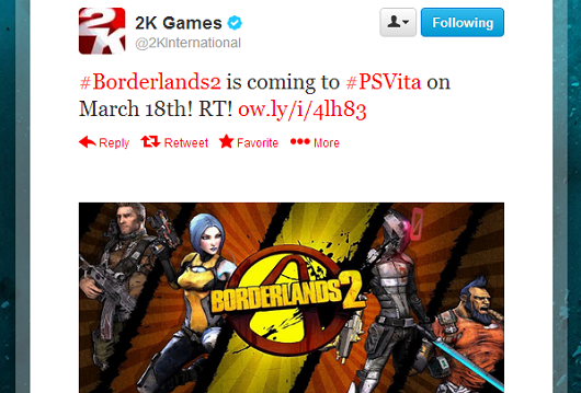 2K Games accidentally tweets a release date for Borderlands 2 on the PS Vita