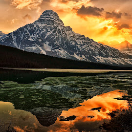 Golden Moment at Waterfowl Lake by Jeff Clow - Landscapes Mountains & Hills ( mountains, reflection, canada, alberta, nature, banff national park, mount chephren, icefields parkway, lake, landscape, waterfowl lake )