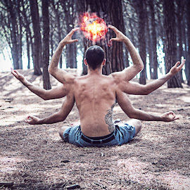 Zen by Emanuele Papale - Digital Art People ( photomanipulation, guy, art, digital art, zen, arms, meditation, tattoo, digital, man, fire, photoshop,  )