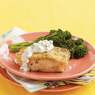 Pan-Fried Halibut with Cornichon Sauce