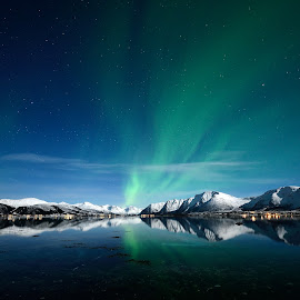 Northern lights by Marius Birkeland - Landscapes Waterscapes ( reflection, sky, northern lights, snow, aurora borealis, aurora, arctic, norway )