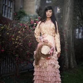 by Monika Schaible - People Fashion ( fashion, monika schaible, victorian, night, pink, frills, victorian fashion, hat )