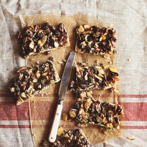 Nut Caramel Bars with Dried Cherries