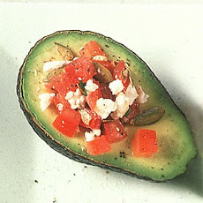 Avocado Halves Stuffed with Tomato and Feta