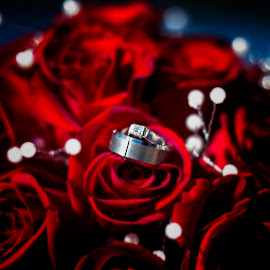 All that glitters by Michele Welker - Wedding Details ( bouquet, bridal, red, his, details, diamonds, wedding, hers, roses, rings, groom,  )