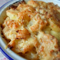 Cheese and Onion, Potato and Cauliflower Bake