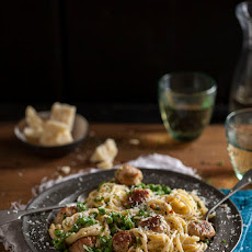 Sausage And Pea Carbonara