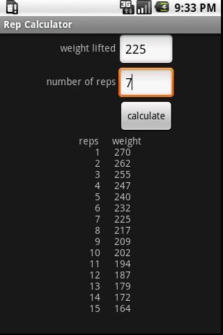 Rep Calculator