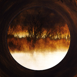 Porthole To Swamped Planet by Kim Pate - Illustration Sci Fi & Fantasy ( other dimensions, dark places, porthole, hell )