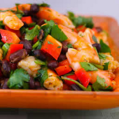 Shrimp and Black Bean Salad with Cilantro, Cumin, and Lime