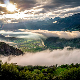 Cloud play by Truman Ruth - Landscapes Cloud Formations ( clouds, mountains, switzerland, valley, sun )