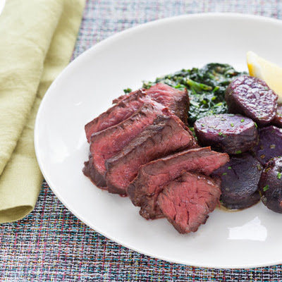 "Hanger Steak with ""Creamed"" Spinach & Lemon-Butter Purple Potatoes"