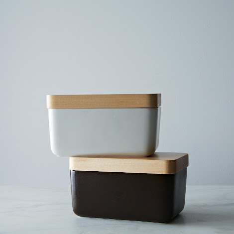 Modern Porcelain Butter Dish with Maple Lid