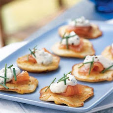 Fresh Corn Blinis with Smoked Salmon and Chive Cream